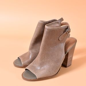 Lucky Brand Lisza Leather Open Toe Boots 8